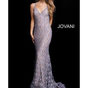 JOVANI SILVER FITTED PROM DRESS